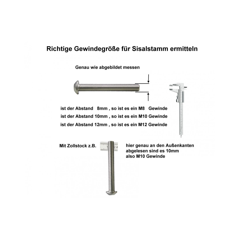 L/änge: 10-100 cm; M8//M10//M12 Kratzbaumland 12 cm Deluxe-Sisalstamm mit 8 mm Sisalseil